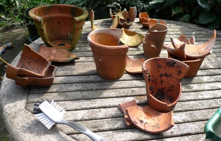 broken terracotta pots